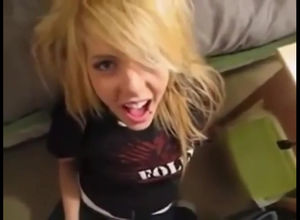 Blond goth teenager gets heavy..