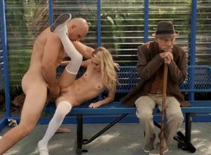 Public vulva packed with thick dick at..