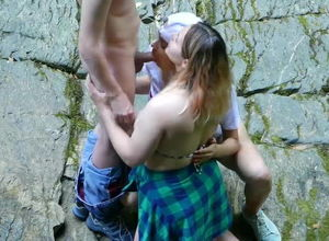 2 Youthful  Deep-throat Sausage Outdoors
